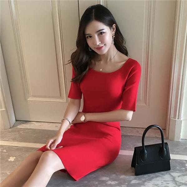 2020秋季新款韓版針織洋裝女打底修身顯瘦緊身包臀露肩中袖氣質 Cocoa