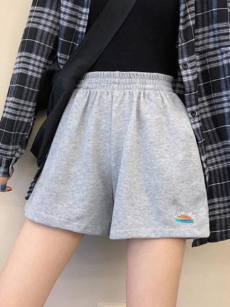 夏季2021年新款褲子鬆緊腰短褲運動褲休閒褲女寬鬆百搭高腰闊腿褲 貝芙莉
