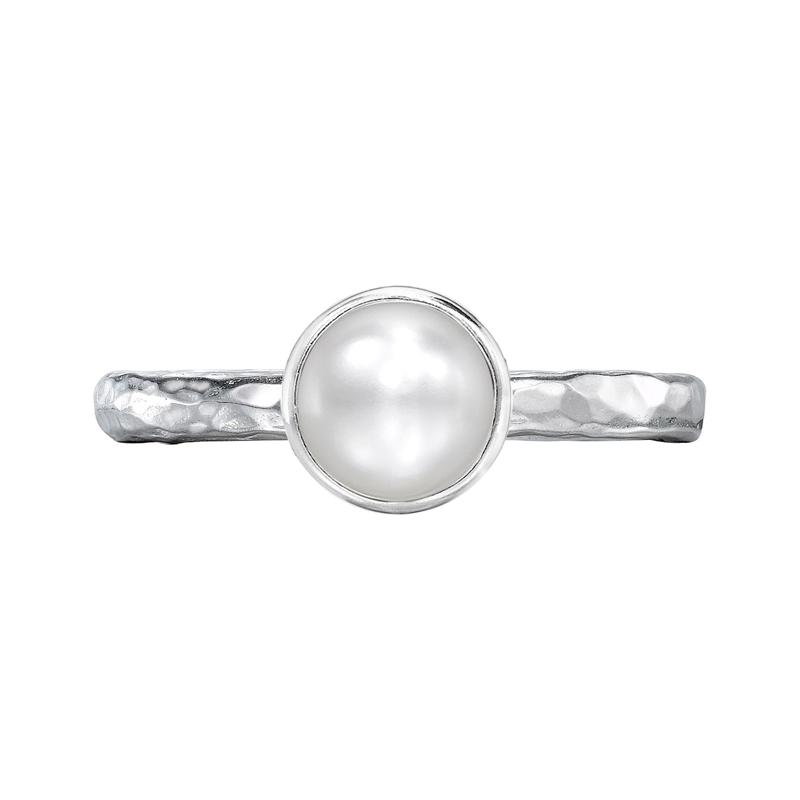 6mm White Pearl Hammered Twinkle Ring