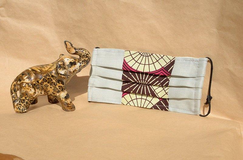 非洲花布口罩套-粉紅萬花筒(雙拼灰底)