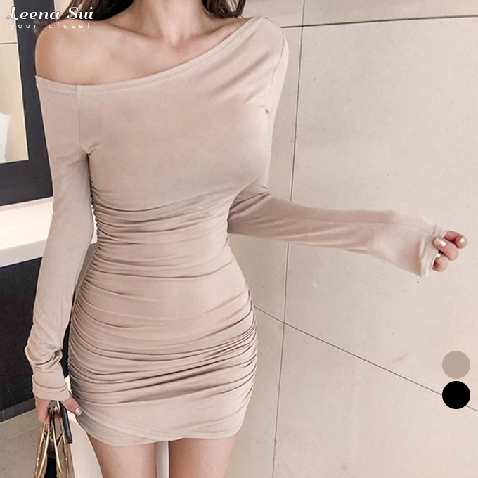 洋裝 連身裙 晚宴禮服婚紗 一字領洋裝 性感一字領露肩皺褶長袖連衣裙 063822