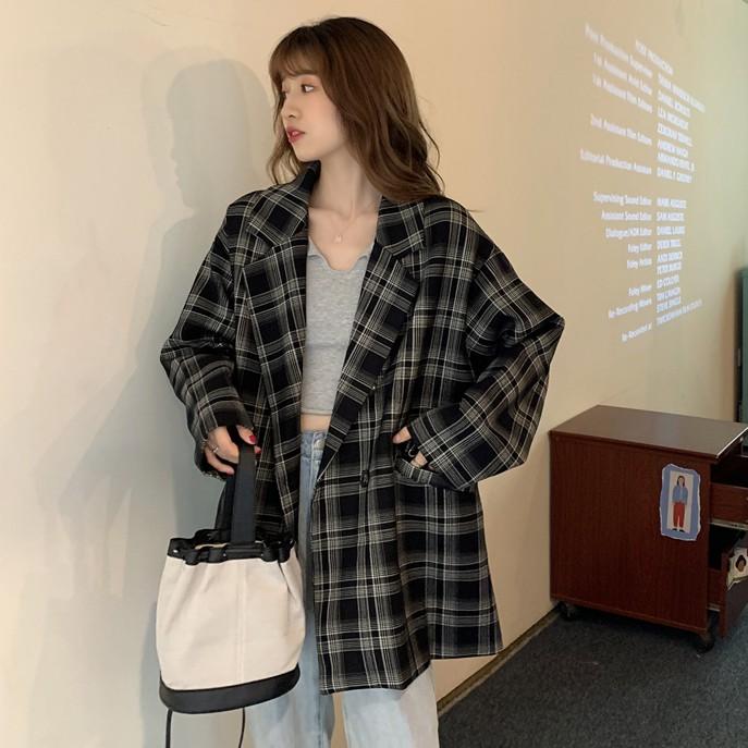 時尚 西裝外套 長袖外套 女生上衣 休閒 格子 撞色 翻領 寬鬆 中長款 西裝 外套