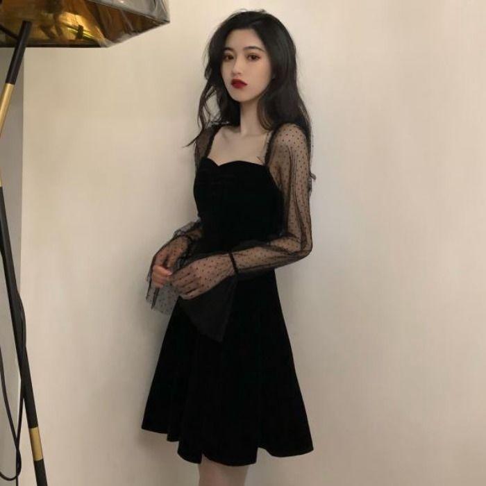 女生洋裝 長袖洋裝 復古禮服 網紗袖 秋季新款韓版復古優雅氣質黑色方領禮服長袖女