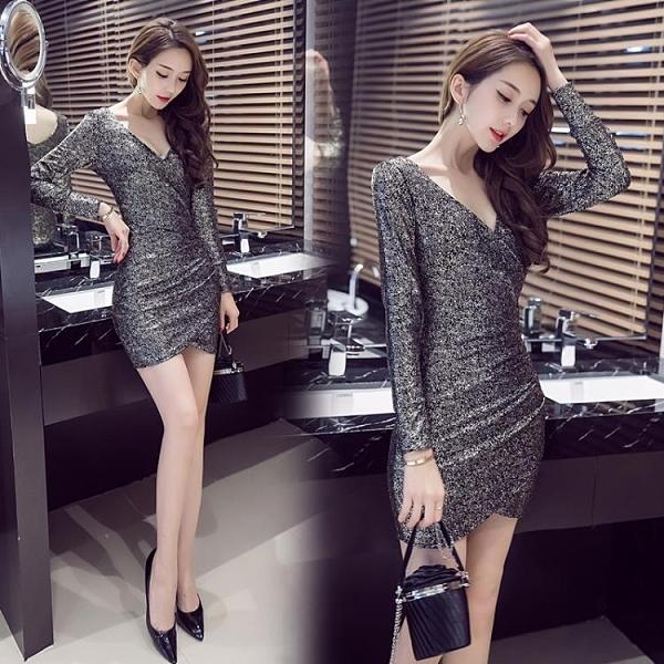2020秋裝新款夜店女裝不規則性感洋裝氣質時尚亮片夜場包臀裙子