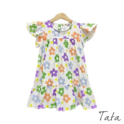 童裝 撞色花朵拼接荷葉洋裝 TATA KIDS