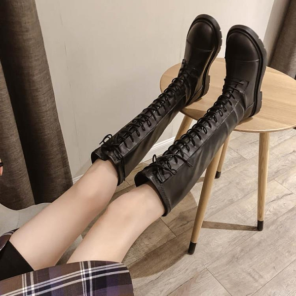 長靴女 長靴女過膝英倫風2020年新款秋季瘦瘦長筒騎士高筒馬丁靴春秋單靴