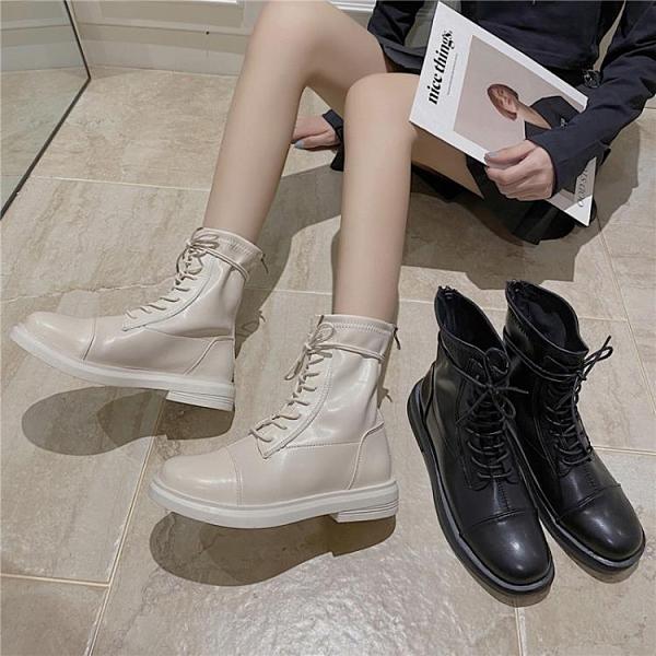 網紅馬丁靴女ins潮酷英倫風短筒新款顯瘦厚底增高帥氣百搭短靴秋