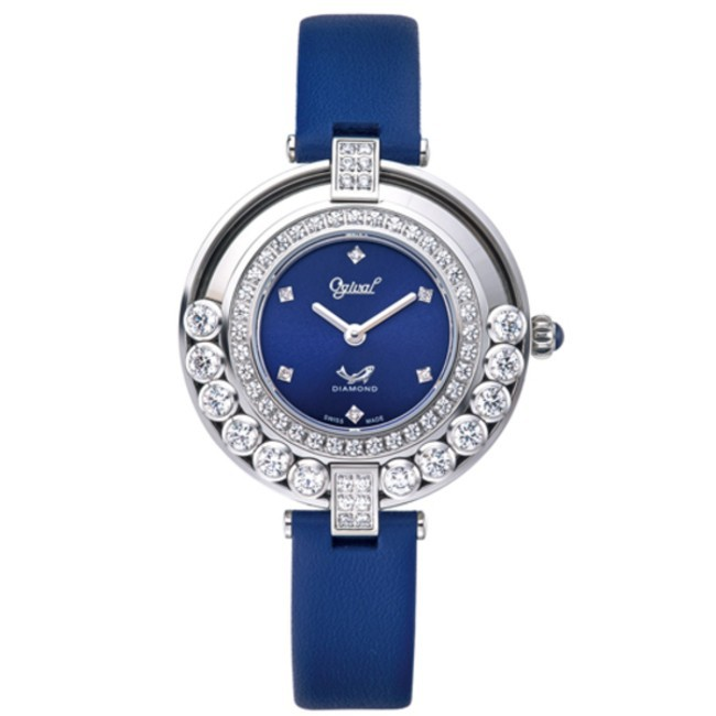 愛其華 Ogival (380-45.1DLW) 流星系列 流光瀲灩珠寶錶/藍 34mm