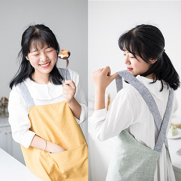 圍裙家用廚房防水防油罩衣純棉家務做飯男工作棉布可愛日系女時尚 韓美e站