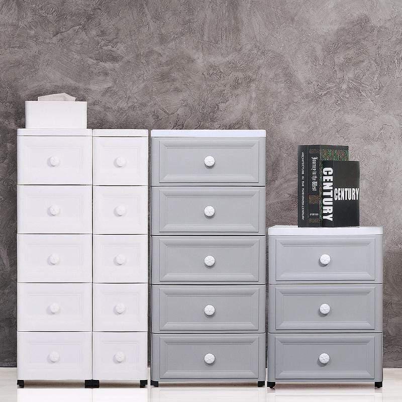 鄉村風歐式5層附輪細縫收納櫃-面寬18cm 白色
