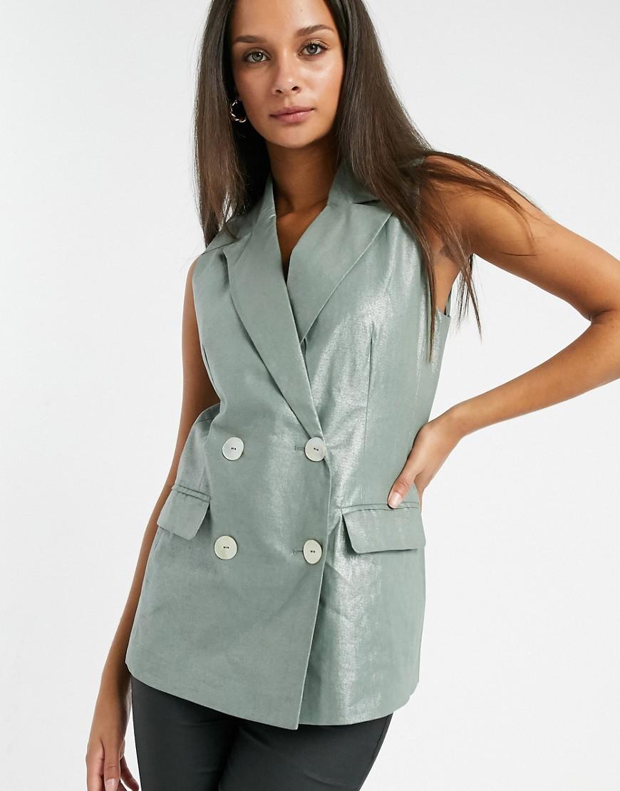 Vero Moda sleeveless blazer in khaki-Green