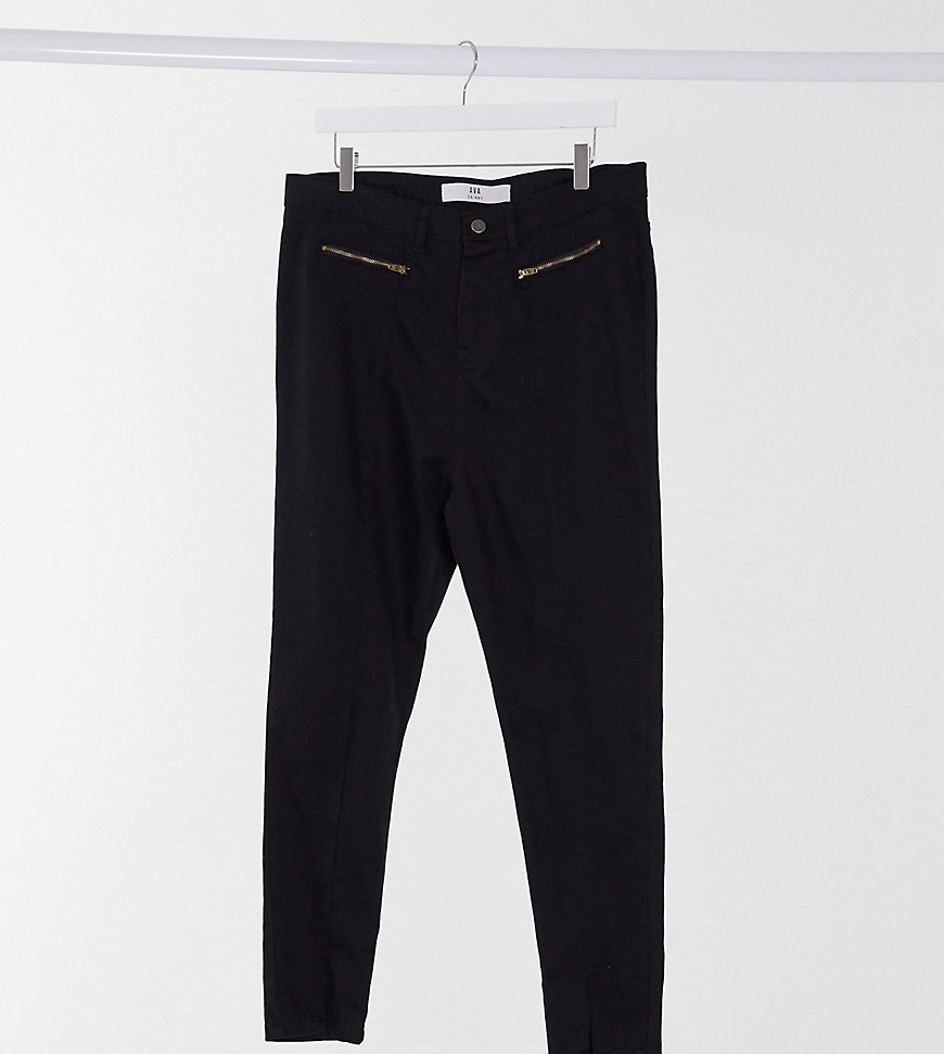 Yours split front skinny jeans in black