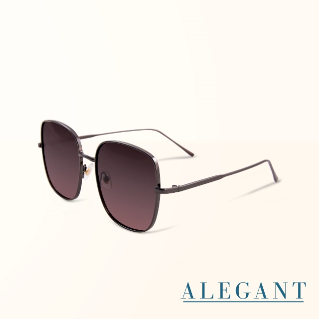 【ALEGANT】韓系超人氣瑩彩灰粉漸層微方鈦銀細框偏光墨鏡/UV400太陽眼鏡