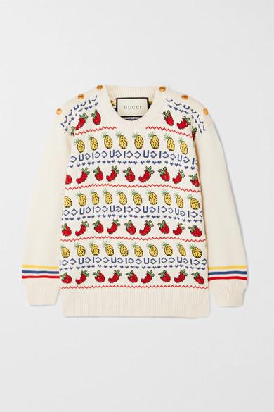 Gucci - 纽扣装饰嵌花棉质羊毛混纺毛衣 - 奶油色 - x small