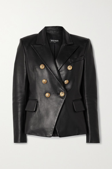 Balmain - 双排扣皮革西装外套 - 黑色 - FR46