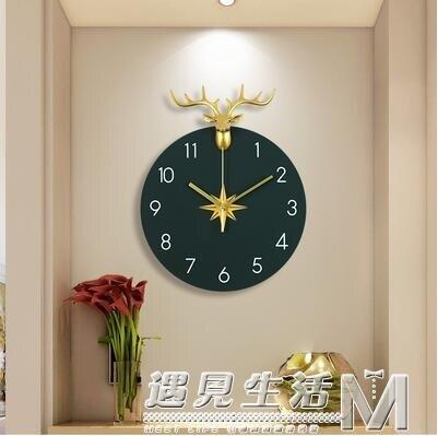 [樂天優選]北歐掛鐘客廳家用時尚鹿頭掛墻時鐘掛表個性藝術裝飾創意簡約鐘表