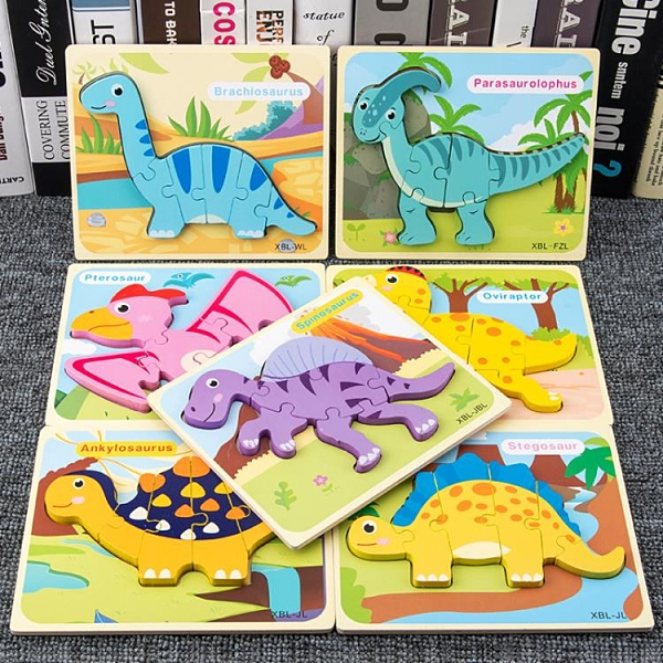 幼兒童動物汽車恐龍拼圖木質立體