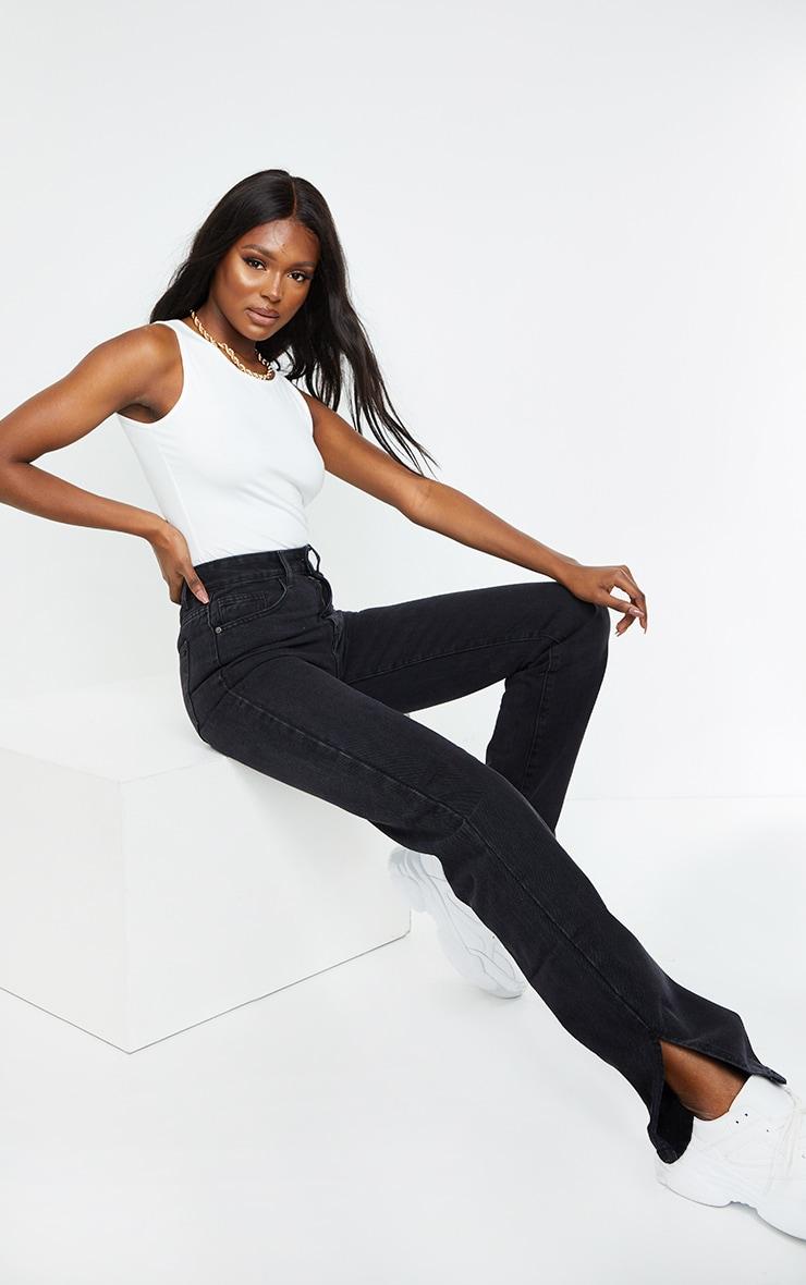 Tall Washed Black Split Hem Jeans