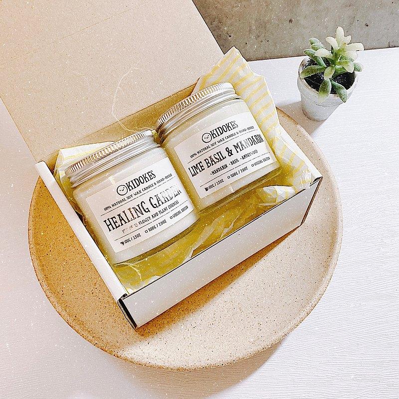 自選兩入100g手工大豆香氛蠟燭小禮盒 淨化空間 附提袋