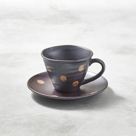 有種創意 - 日本美濃燒 - 寬口咖啡杯碟組 - 紫羊羹白玉