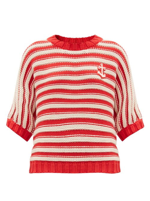 Gucci - Anchor-appliqué Striped Cotton-blend Sweater - Womens - Red White