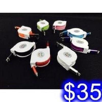 伸縮扁麵條充電線 安卓伸縮線 / 蘋果伸縮線 合金接頭 MicroUSB/i5/i6/i7傳輸線 ID-47