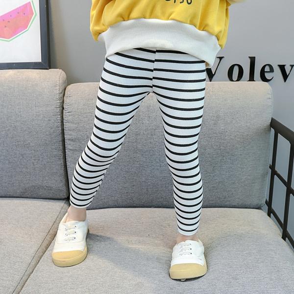 黑白條紋褲腳不收邊彈性內搭褲 內搭褲 長褲 安全褲 內搭褲 貼身褲 女童 童裝 兒童 橘魔法 現貨