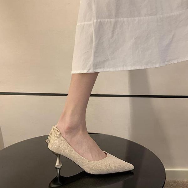 高跟鞋女細跟夏季新款 韓版ins網紅仙女風蝴蝶結淺口尖頭單鞋
