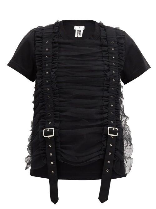Noir Kei Ninomiya - Ruched-tulle Strapped Cotton T-shirt - Womens - Black