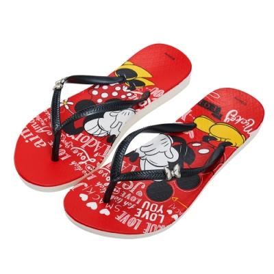 迪士尼親子鞋 米妮 手繪造型人字拖鞋-紅
