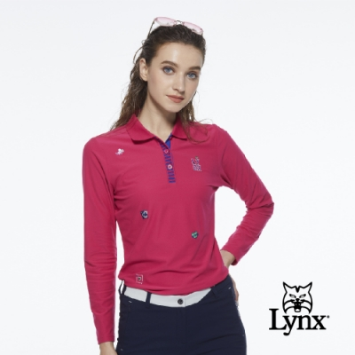 【Lynx Golf】女款遠紅外線保暖刷毛POKER圖樣繡花長袖POLO衫-桃紅色