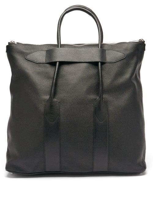 Maison Margiela - Foldable Grained-leather Tote Bag - Mens - Black
