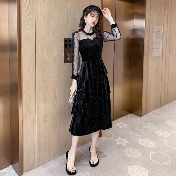 蛋糕裙洋裝 跨境女神范連衣裙2020春季新款女裝裙子絲絨拼接亮片中長款蛋糕裙