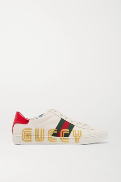 Gucci - Ace Metallic 水蛇皮边饰标识印花皮革运动鞋 - 白色 - IT35.5