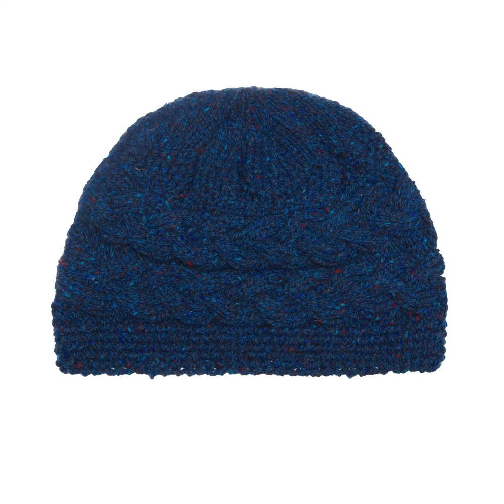 Magee 1866 Dark Blue Donegal fleck Handknit Aoife Cable Hat