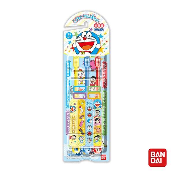 日本 BANDAI 萬代 哆啦A夢牙刷3入組(6歲以上適用)【台灣總代理公司貨】