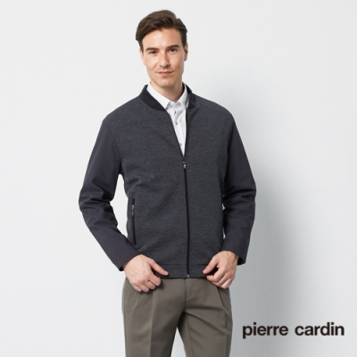 Pierre Cardin皮爾卡登 男裝 針織羅紋領薄夾克外套-灰色(5195604-96)