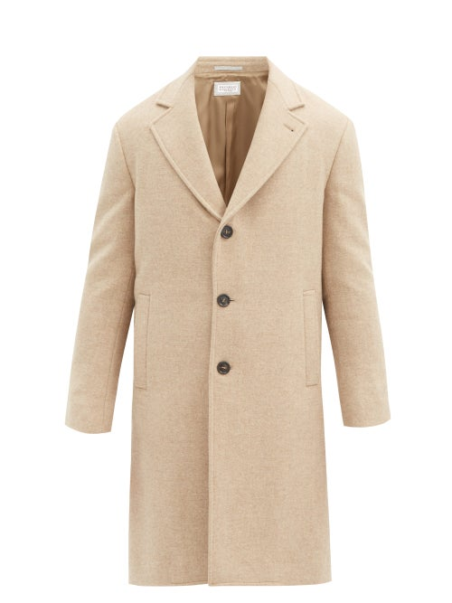 Brunello Cucinelli - Single-breasted Wool Coat - Mens - Beige