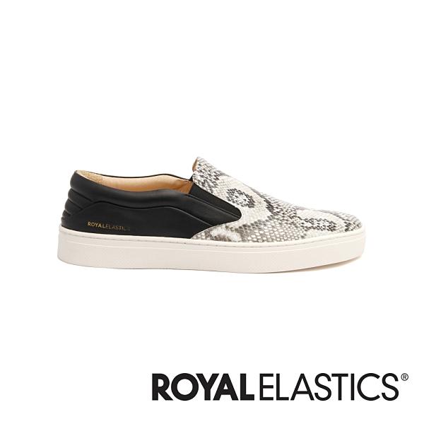 ROYAL ELASTICS Ketella 蛇紋白真皮時尚休閒鞋 (男) 00383-889