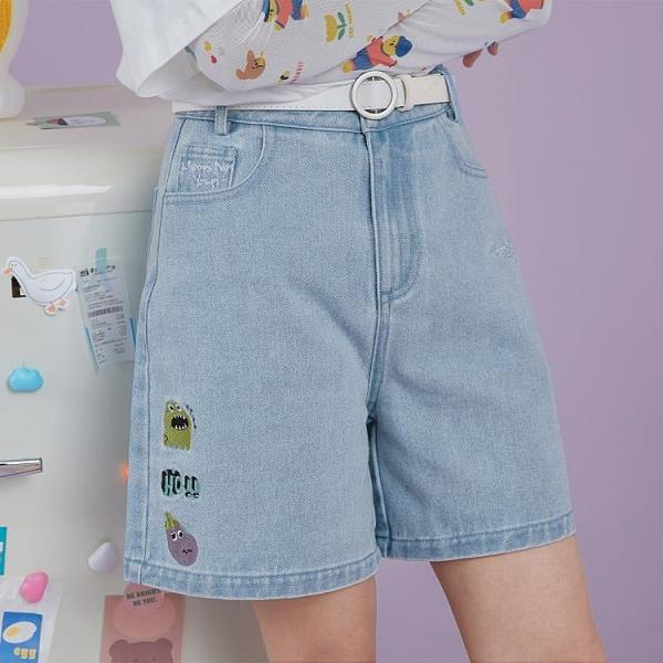 爾給日系小個子淺色少女短褲2021新款牛仔五分褲女寬鬆潮寬管