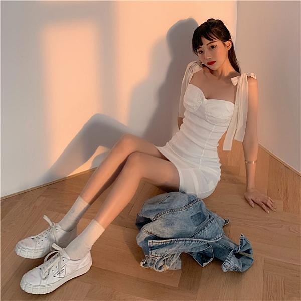 歐美風肩帶洋裝女夏緊身包臀裙子收腰顯瘦a字吊帶短裙-Milano米蘭