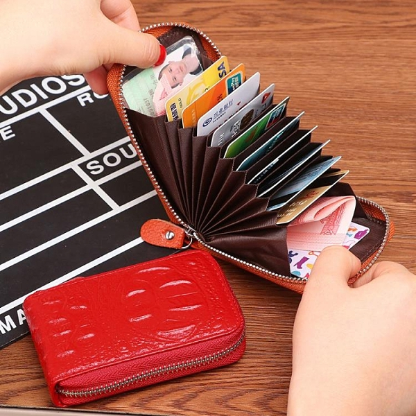 特惠全場九折 歐美新款女式卡包真皮風琴卡夾男士多卡位小巧駕駛證拉鏈錢包