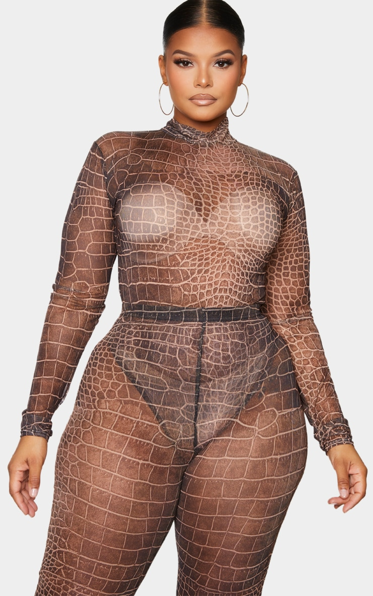 Plus Brown Croc Print Mesh High Neck Long Sleeve Bodysuit