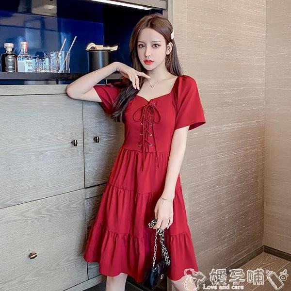 法式桔梗裙2021夏季新款韓版氣質法式方領泡泡袖桔梗收腰顯瘦連身裙中長裙女 嬡孕哺