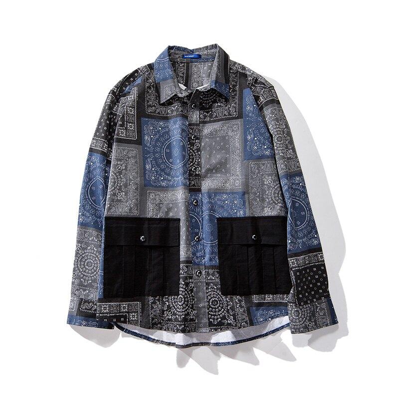 中大尺碼男裝XL-6XL 型男必備 印花拼接長袖襯衫