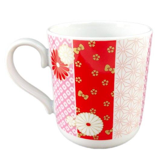 【領券折$30】小禮堂 Hello Kitty 日製 陶瓷馬克杯 寬口杯 咖啡杯 陶瓷杯 YAMAKA陶瓷 (紅金 花朵)