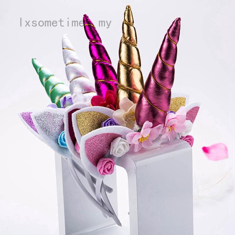 lxsometimes新款可愛兒童女士甜美花獨角獸牛角髮帶髮箍生日派對花碎花頭飾飾品