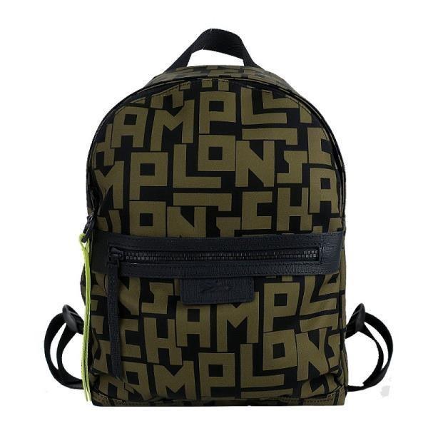 LONGCHAMP Le Pliage LGP系列滿版字母尼龍後背包(小/黑X卡其綠)