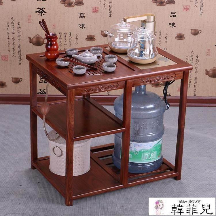 茶推車 紅木小茶幾非洲酸枝木小茶桌茶臺實木陽臺茶水架行動茶車燒水架 MKS