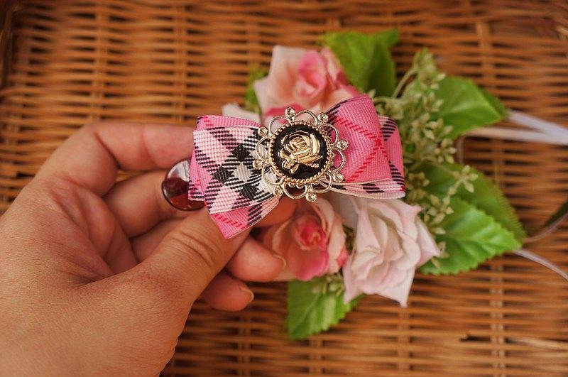 B3-馬尾側夾(L)- 髮夾抓夾馬尾夾公主頭類 格紋玫瑰花